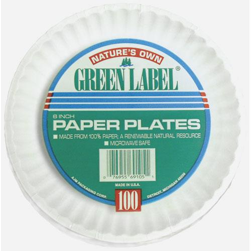"White Paper Plates, 9"" Diameter, 100/Bag, 10 Bags/Carton"