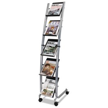 Mobile Literature Display, 13 3/8w x 20 1/8d x 65 3/8h, Silver Gray/Black
