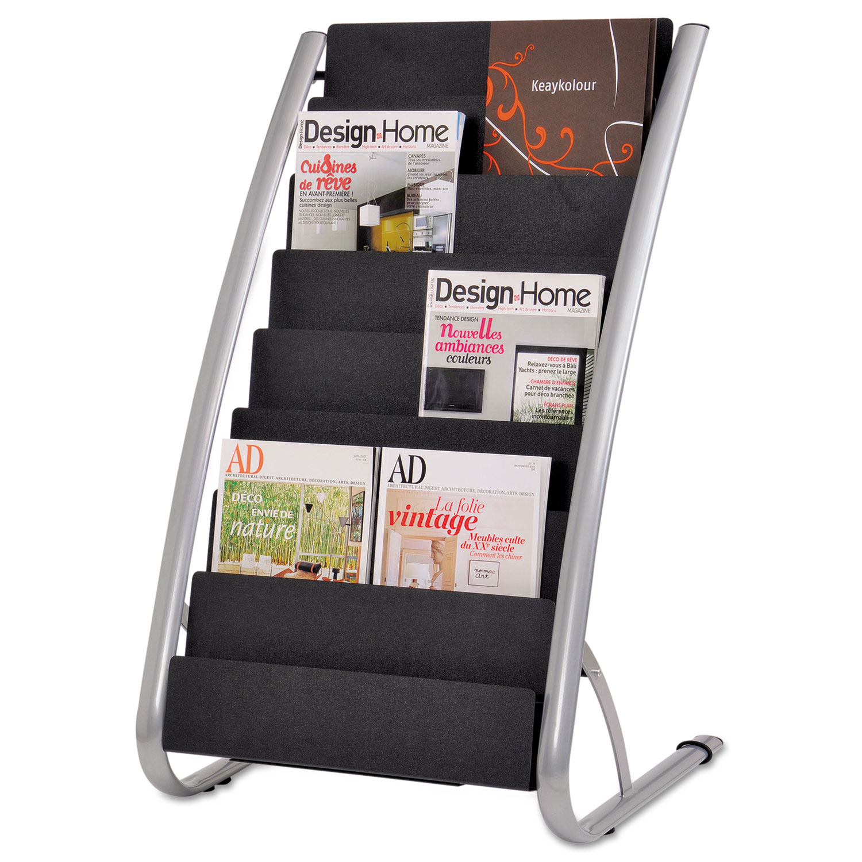 Literature Floor Rack, 16 Pocket, 23 x 19 2/3 x 36 2/3, Silver Gray/Black