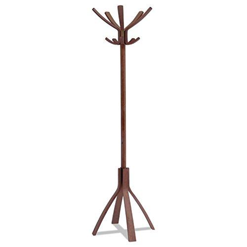 Caf� Wood Coat Stand, Ten Peg/Five Hook, 21 2/3 x 21 2/3 x 69 1/3 Espresso Brown