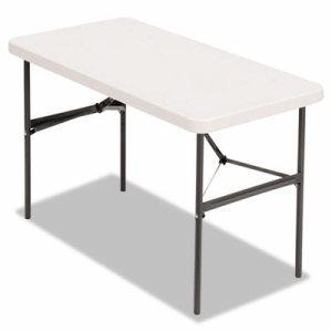 Banquet Folding Table, Rectangular, Radius Edge, 48 x 24 x 29, Platinum/Charcoal