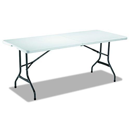Fold-in-Half Resin Folding Table, 71w x 30d x 29h, White