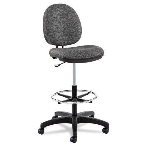 Alera Interval Series Swivel Task Stool, Tone-On-Tone Fabric, Graphite Gray