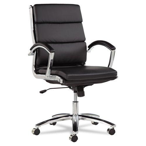 Alera Neratoli Series Mid-Back Swivel/Tilt Chair, Black Leather, Chrome Frame