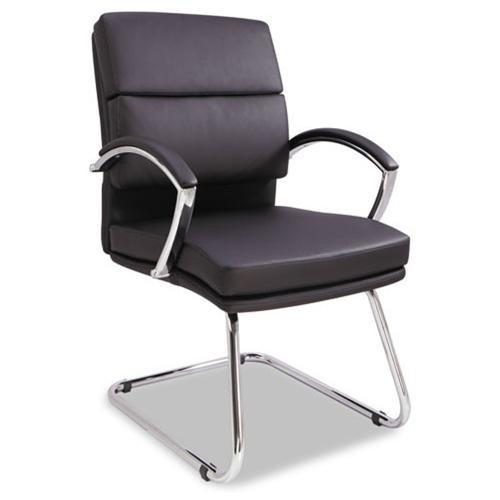 Alera Neratoli Series Slim Profile Guest Chair, Black Soft Leather, Chrome Frame