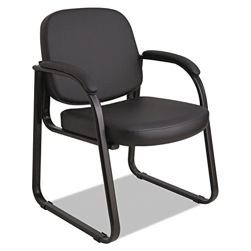 Alera Genaro Series Sled Base Guest Chair, Black Vinyl