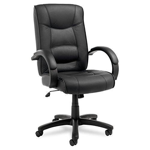 Alera Strada Series High-Back Swivel/Tilt Chair, Black Top-Grain Leather