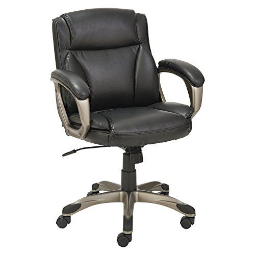 Alera Veon Series Low-Back Leather Task Chair w/Coil Spring Cushioning, Black