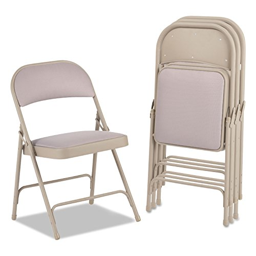 Steel Folding Chair with Two-Brace Support, Fabric Back/Seat, Tan, 4/Carton