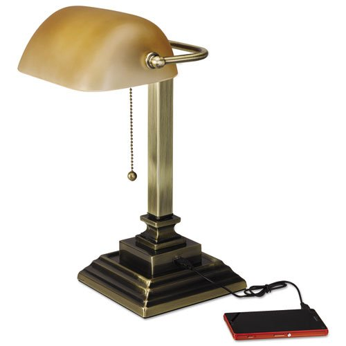 """Traditional Banker's Lamp w/USB, 16""""High, Amber Glass Shade w/Antique Brass Base"""