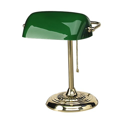 "Traditional Banker's Lamp, Green Glass Shade, Antique Brass Base, 14""h"
