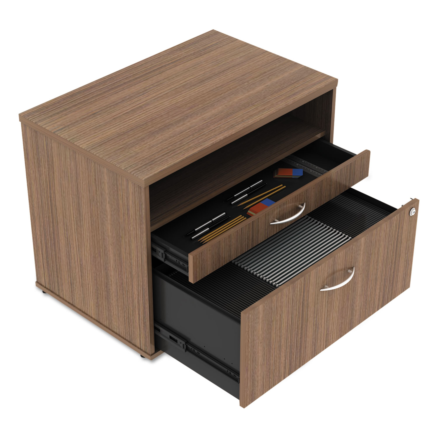 Alera Open Office Series Low File Cabinet Credenza, 29 1/2x19 1/8x22 7/8,Walnut