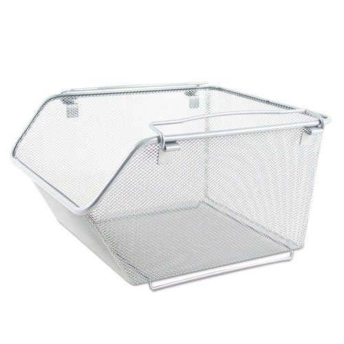 Wire Mesh Stacking Shelving Bins, 12 x 15 1/4 x 8 5/8, Silver, 2/Set