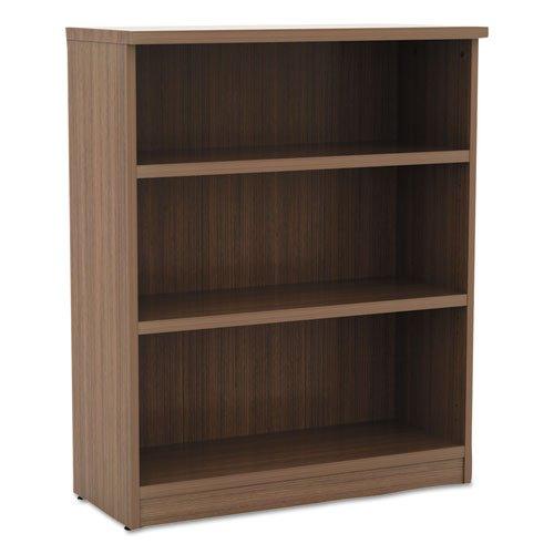 Alera Valencia Series Bookcase, Three-Shelf, 31 3/4w x 14d x 39 3/8h, Mod Walnut