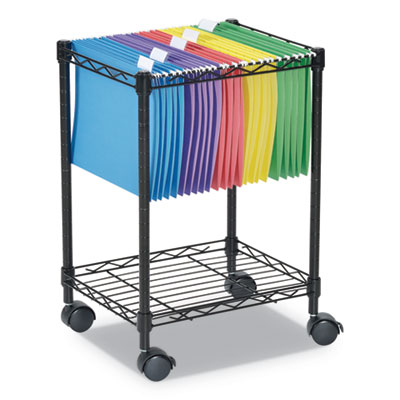 Compact Rolling File Cart, 15 1/4w x 12 3/8d x 21h, Black