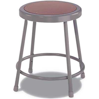 "Industrial Stool, 18"", Brown/Gray Seat"