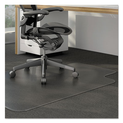 Cleated Chair Mat for Low and Medium Pile Carpet, 36 x 48, Clear