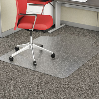 "Studded Chair Mat for Flat Pile Carpet, 45"" x 53"", with Lip, Clear"