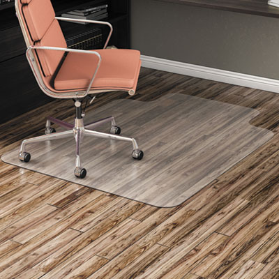 "Non-Studded Chair Mat for Hard Floor, 45"" x 53"", with Lip, Clear"