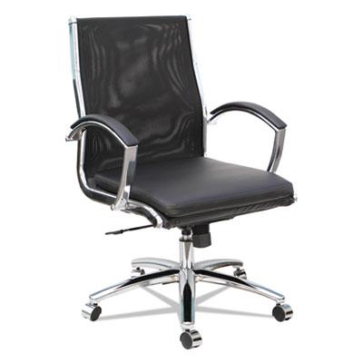 Neratoli Mid-Back Slim Profile Chair, Black, Leather/Mesh