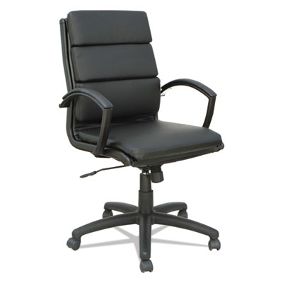 Neratoli Mid-Back Slim Profile Chair, Black, Leather