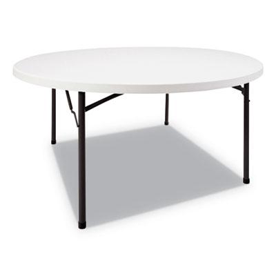 Round Plastic Folding Table, 60 Dia x 29h, White