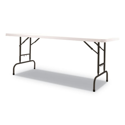Adjustable Height Plastic Folding Table, 72w x 30d x 29 to 37h, White