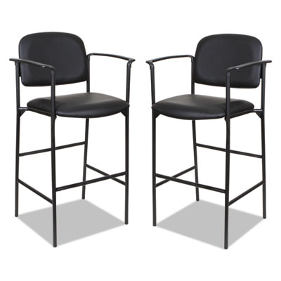 Sorrento Series Stool, Black, Faux Leather, with Arms, 2 per carton