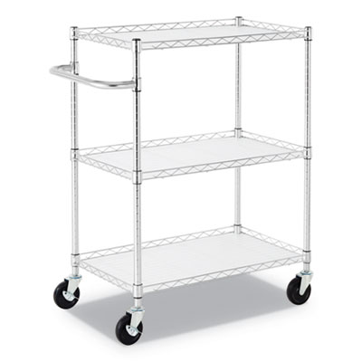 "3-Shelf Wire Cart with Liners, 34 1/2"" x 18"" x 40"", Silver, 600 lbs Capacity"