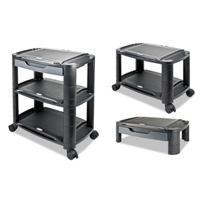 """3-in-1 Storage Cart and Stand, 21 5/8""""w x 13 3/4""""d x 24 3/4""""h,Black/Gray"""