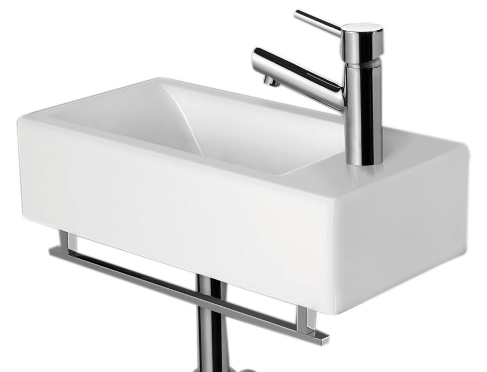 ALFI Brand AB108 Small White Modern Rectangular Wall Mounted Ceramic Bathroom Sink Basin