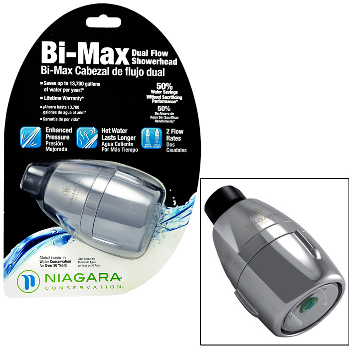 Bi-Max 1-Spray 1-1/2 in. Dual Flow Fixed Showerhead in Chrome