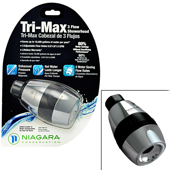Tri-Max 1-Spray 1-1/2 in. Tri-Flow Fixed Showerhead in Chrome