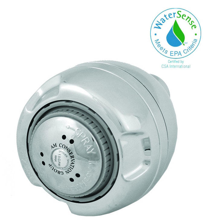 1.5 GPM Chrome Euro Wallmount Showerhead -3 spray settings; WaterSense