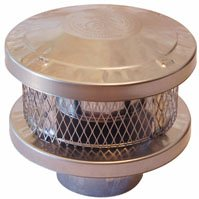AmeriVent 8HS-RCS 3-Wall Round Vent Cap, 8 in, Stainless Steel