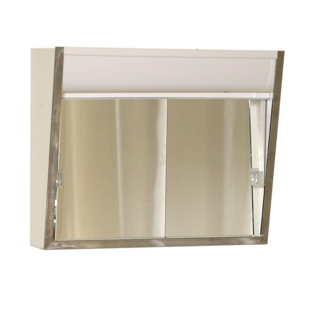 "American Pride 700L Series 24"" Sliding Medicine Cabinet, 2 Light Without Outlet"