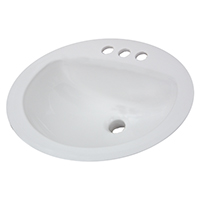 Aqualyn 0476028.020 Drop-In Bathroom Sink, 7-5/8 in H x 20-3/8 in W x 17-3/8 in D, Vitreous China, White