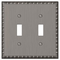 Amerelle Renaissance 2-Toggle Wall Plate, 2 Gang, 4-15/16 in L X 4-15/16 in W, Antique Nickel