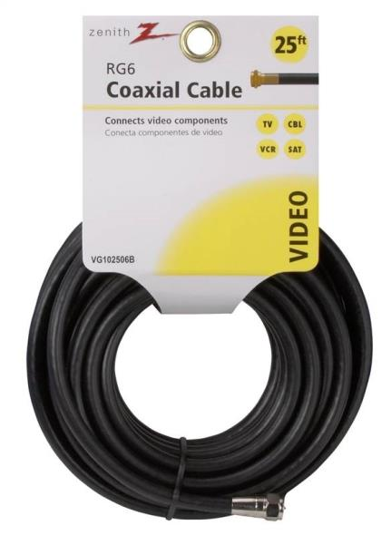 AmerTac Zenith VG102506B RG6 Coaxial Cable, 25 ft, PVC