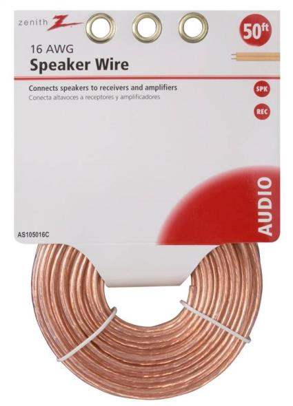 WIRE SPEAKER 16GAU 50FT CLEAR