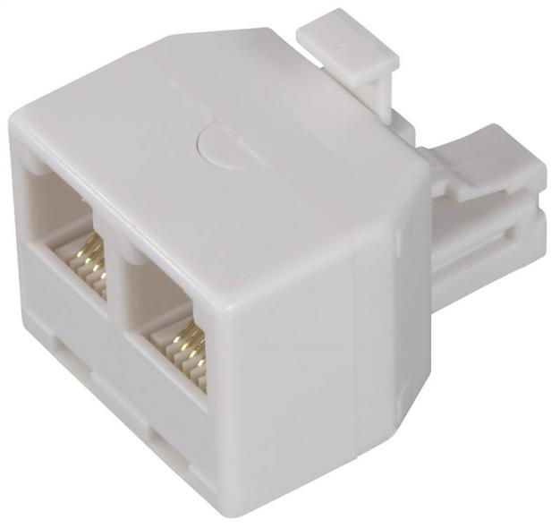 ADAPTER PHONE OUTLET 2-WAY WHT