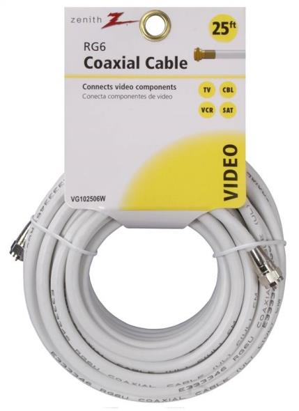 AmerTac Zenith VG102506W RG6 Coaxial Cable, 25 ft, PVC