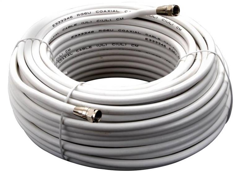 CABLE COAX RG6/F CONN100FT WHT