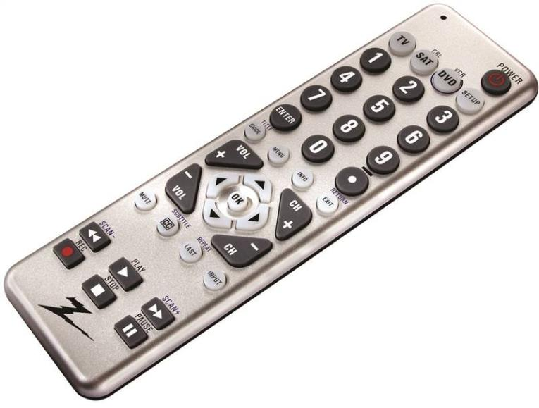 AmerTac Zenith ZC300 3-Device Universal Remote Control, 20 ft, (2) AAA, Silver