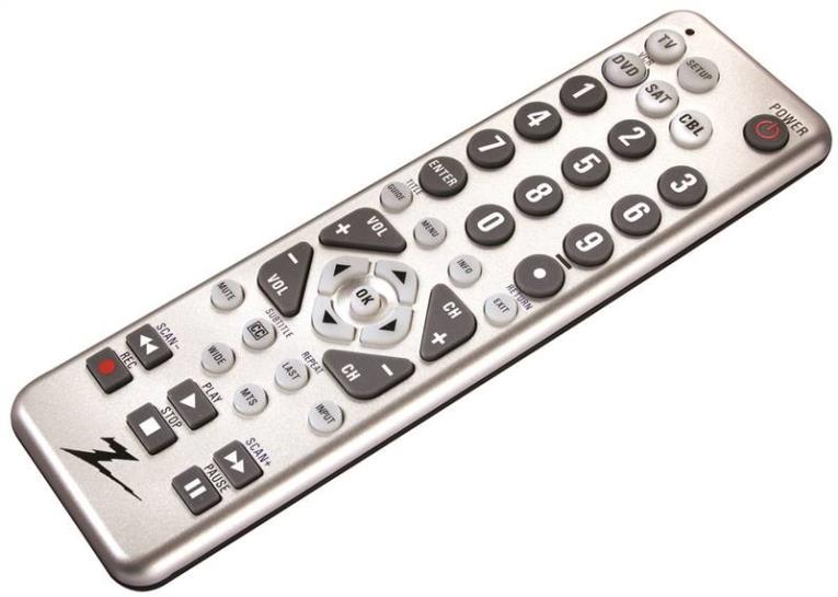 AmerTac ZC400 4-Device Universal Remote Control, (2) AAA Alkaline, Silver