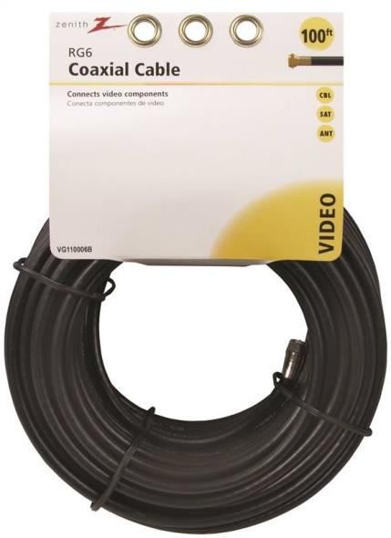 CABLE COAX RG6/F CONN100FT BLK