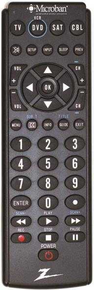 Zenith ZB410MB Universal Programmable Remote Control, 20 ft, Alkaline, Silver
