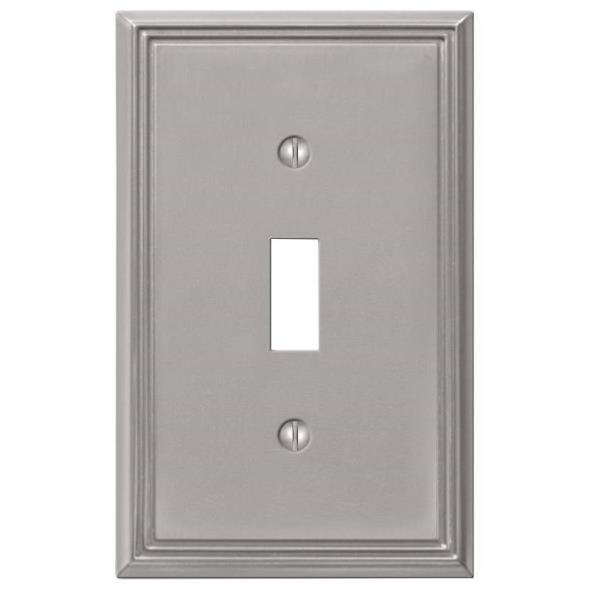 Amerelle Metro Line 1-Toggle Wall Plate, 1 Gang, 4-7/8 in L X 3 in W, Brushed Nickel