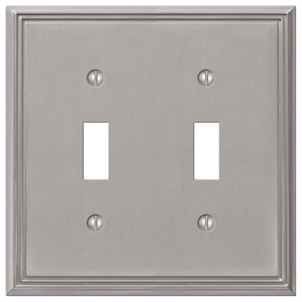 Amerelle Metro Line 2-Toggle Wall Plate, 2 Gang, 4-3/4 in L X 4-3/4 in W, Brushed Nickel