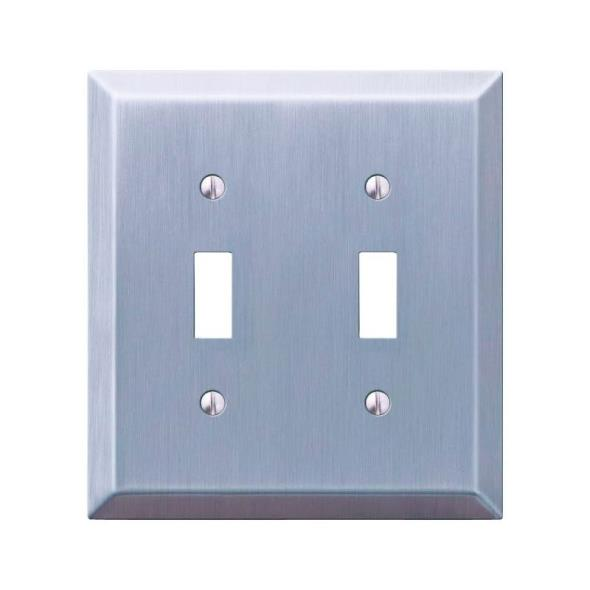Amerelle Century 2-Toggle Wall Plate, 2 Gang, 4-15/16 in L X 4-9/16 in W, Brushed Nickel